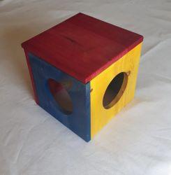 Cubo de Madeira com tampa para Twister