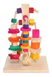 Brinquedo Totem Em Pínus E Sisal Para Mini Coelhos